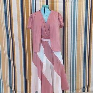 Amazing True Vintage Pink & White Dress w/Cover Up
